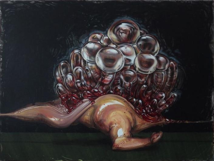 Apparat Exit 2 (Tod meines Vaters) 2018, 160 x 120 cm, Öl Acryl fluoreszierend auf Leinwand