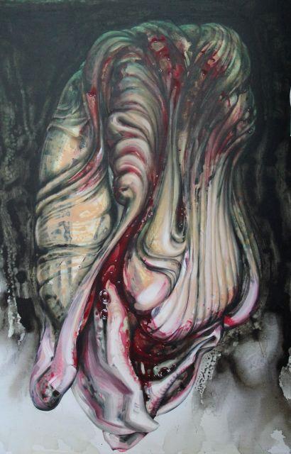 Proband_1, 2018, 120 x 80 cm, Öl Acryl Interferenzfarbe auf Leinwand